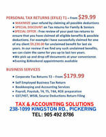 PETERBOROUGH - WHY PAY 35 OR MORE FOR BASIC TAX RETURN