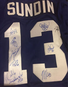 Sundin Jersey Autographed by many iconic Leafs
