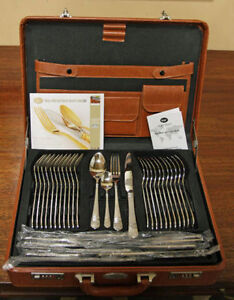 New Modern CARL WEIL STAINLESS w Silver Cutlery SEE VIDEO