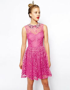 ASOS Pink Lace Dress with Beaded Collar L/XL - US 14 - UK 18 NEW