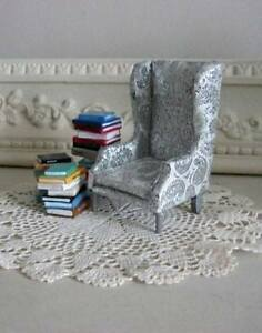 Library Room Chair with Books Miniature for a Dollhouse