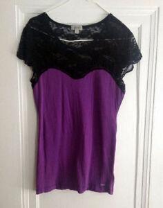 Guess Purple & Black Lace top, Size M/L, Windsor Region Ontario image 1