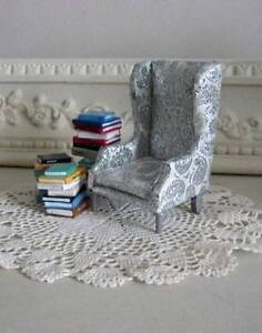 Doll House Size Silver Paisley Wing Back Chair for Reading Room