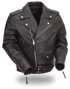 Brand new black leather edgy biker jacket