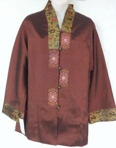 NEW L Womens Chinese Oriental Jacket SILK Dark Brown Gold 40 NWT