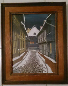 Tempera Painting Rudolf Stapel Winter in Golser 1975 Signed