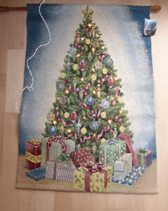 Jacquard woven tapestry with added lights (Christmas decoration)