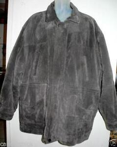 MENS 2X XXL SUEDE JACKET Brown Gray PELLE CUIR Leather 50 52 COAT Stocky Canada
