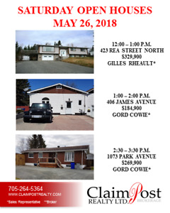 SAT. OPEN HOUSES FOR MAY 26 - CLAIMPOST REALTY LTD, BROKERAGE