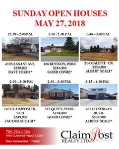 MORE SUNDAY OPEN HOUSES  MAY 27 - CLAIMPOST REALTY LTD BROKERAGE