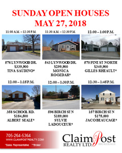 SUN. MAY 27 OPEN HOUSES - CLAIMPOST REALTY LTD., BROKERAGE