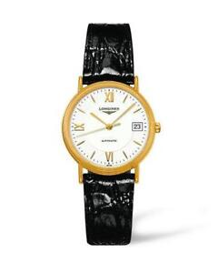 **NEW**LONGINES L48212152 GOLD PVD BLACK LEATHER (AUTOMATIC)