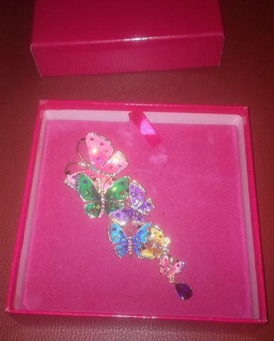Butler & Wilson Crystal Cascading Butterflies Brooch in box for sale in liverpool