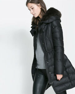 ZARA black hooded puffer