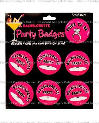Bachelorette party badges - pack of 7 Costume Lingerie Novelty Clothing Fun - Bachelorette Costume