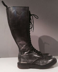 Dr Martens 20 Eyelet Leather Silver Knee High Lace Up Zip Boots