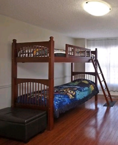 Twin bunk bed (solid wood sturdy)