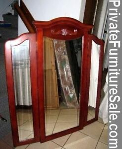 Beautiful Solid Wood frame Tri-fold Mirror, french provincial