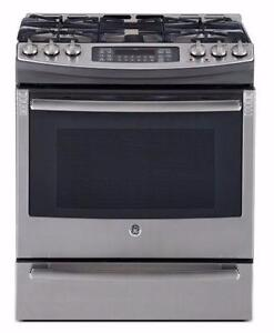 30'' Range, Dual-fuel, Convection, Gas burners, Stainless, GE Profile