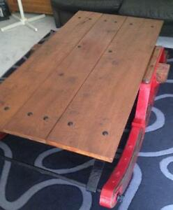 Antique Massey Harris log sleigh coffee table