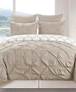 QUEEN SIZE 3-PIECE REVERSIBLE PINTUCK / PRINTED DUVET SET TAUPE West Island Greater Montréal image 1