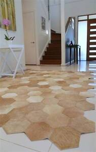 Handcrafted RUG premium leather hexagons. Honey tones 1.80x2.40m Crows Nest North Sydney Area Preview