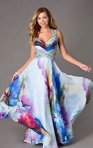 Beautiful Floor Length Floral Print Dress by Dave & Johnny Small