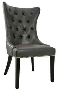High Back Tufted Accent Leather Dining Chair in Grey