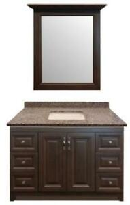 Bathroom Furniture Cabinet Super Hot Deal- 48 Solid Wood Maple Vanity w/ Framed Mirror and 3cm Granite Top in 24 Colors
