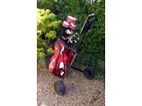 Golf clubs plus bag & trolley