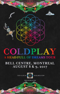 3 Floor seats to Coldplay, Wednesday August 9th!