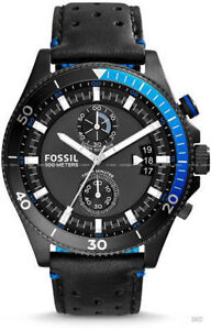 fossil Wakefield Chronograph Leather Watch - Black