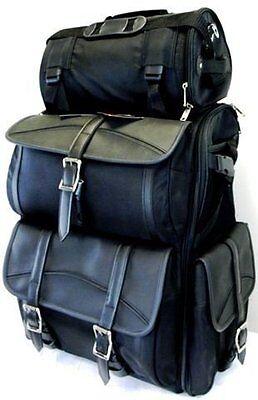 Vance Leather Motorcycle Large Sissy Bar Bags Plain Travel Luggage