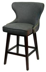 2 - Swivel Counter Stool with Diamond Button Tufting Brass Nailh