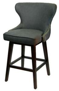 Swivel Counter Stool with Diamond Button Tufting  Brass Nailhead