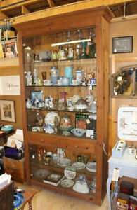 "Store Display Cabinet - Pine & Glass - 97"" tall - 48"" wide"