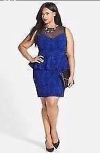 MANY PLUS SIZE CLOTHES-Blue Peplum dress Dinner/party dress