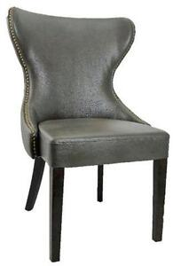 Tufted Back Accent Leather Dining Chair in Grey