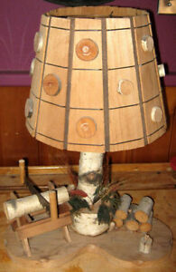 "UNIQUE BIRCH ""LOGGING CAMP"" TABLE LAMP"