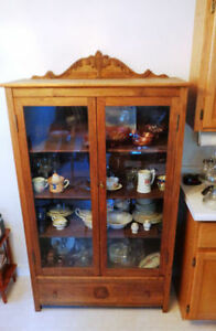 Antique Oak China Cabinet, could be used as Bookcase or Storage