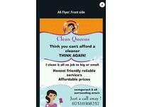 Clean queens 7days a week and bank hoildays