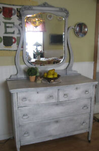 REstyled,Charming Antique Dresser w/ Ornate Mirror~UPcycled!