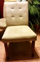 Light suede dining chairs