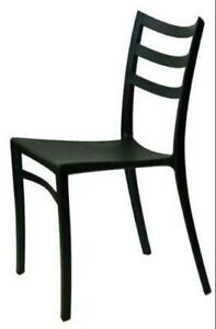 BLACK Patio Backyard Stackable Chair on Special Clearance Sale