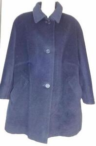 AQUASCUTUM Womens All WOOL SWING COAT L Blue Angora Cashmere