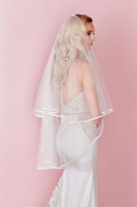 Brand New White Tulle Pink Ribbon Trim Wedding Veil Blusher