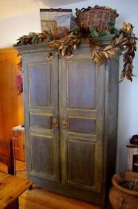 Custom Made Solid Wood Milk Painted Armoire with Shelves