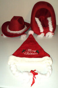 2 Christmas Cowboy Hats and 1 Toque-  all with attached braids