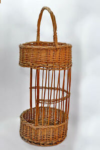 Wicker Stand, Two Tiers - Great for plants, crafts, organizing