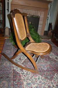 Vintage Folding Rocking Chair Cane Back and Seat